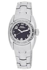 Chronotech Women's CT.7704BS/11M Crystals Black Dial Steel Date Wristwatch