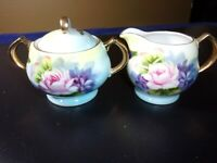 Small Creamer and Sugar Bowl with Lid China with Gold Trim Painted flowers