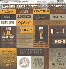 Moxxie - Craft Brew Cutouts Scrapbooking Paper 12x12 -  Beer, Wood Background