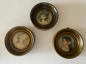 Vtg. A CAMEO CREATION Bronze Metal Frame Victorian Miniature Portraits Set of 3