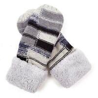Women's Mittens Sherpa Fleeced Winter Cozy Block Patterned Thick Winter Glove