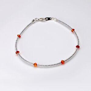 Orange Fireopal Swarovski Crystal Elements and Clear Seedbead Bracelet