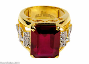 Men's Clergy Apostle Ring (MRG2025 G-R) Red, Sterling Silver w/Gold Plating