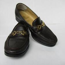 Bruno Magli Men's Slip-on Loafers Burgundy/Black Leather Gold Metal Buckle