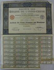 Action de 100 francs - novembre 1926 - Société des étains de l'indo-chine - Mey