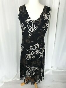 Phase Eight Embroidered Occasion Black Dress Size 16
