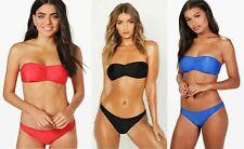 BOOHOO BANDEAU BIKINI RED BLACK BLUE SIZE 6-12 NEW swimming costume