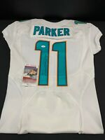 #11MIAMI DOLPHINS DEVANTE PARKER SIGNED TEAM ISSUED WHITE JERSEY JSA WITNESS COA