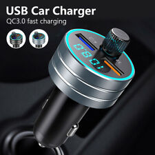 Bluetooth 5.0 Car FM Transmitter MP3 Player Quick 3.0 Charger Dual USB Handsfree