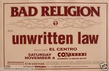 Bad Religion / Unwritten Law / El Centro San Diego Concert Tour Poster