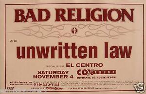 BAD RELIGION / UNWRITTEN LAW / EL CENTRO SAN DIEGO CONCERT TOUR POSTER