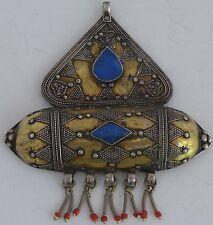 HUGE Old Turkoman Turkmen Tribal Ethnic pendant Sterling silver & Blue Lapis