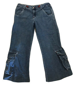 VTG Kik Girl Wide Leg Cargo Flare Jeans 90s Skater Y2k Rave Womens sz 9 Kikwear