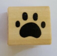 Wood Backed Rubber Stamp Paw Print Cat Dog