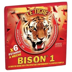 60 PÉTARDS A MÈCHE LE TIGRE BISON 1 demon artifice feu petard