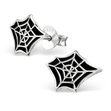925 Sterling Silver Black Cobweb Spider Web Stud Earrings Halloween & Gift Box