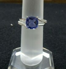 Size 8 Color Change Fluorite & White Topaz Sterling Silver Ring 3.07ct