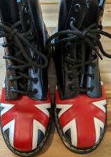 British Flag Union Jack RARE Dr. Martens Doc Boots Black 7US W
