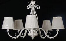Lampadario forgiato bianco antico paralumi SHABBY CHIC fiammingo Italy art.B52