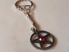 Red Pentagram code dr916 Made From Fine English Pewter on a Snake Keyring