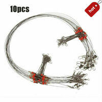 10 Pcs/Set Fishing Wire Leader Trace With Snap & Swivel Fish Tackle Rope Wire