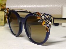 Jimmy Choo Vivy/S Blue/Goldtone Crystal Browbar Frame Sunglasses 51 21 145***NIB