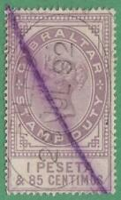 Gibraltar Revenue Barefoot #4 used 1.85p Queen Victoria 1884 cv $19