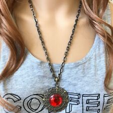 Round red gemstone Fashion Cable Chain Necklace