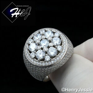 MEN 925 STERLING SILVER ICY DIAMOND BLING 3D ROUND RING*SR157