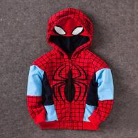 Kids Toddler Boy Super Hero Hooded Jacket Coat Zip Up Hoodies Casual Outwear Top