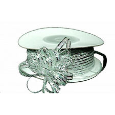 3mm 1/8 Organza Pull bow ribbon  silver iridescent 50yd