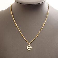 "Authentic Pierre Cardin Circle Logo Brand Motif Necklace Gold Tone 16"""