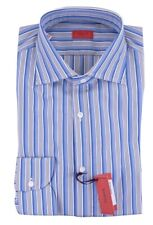 NWT ISAIA dress SHIRT striped ITA blue white luxury handmade Italy 39 15 1/2