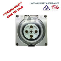 5 Pin 32 Amp 3 phase Socket Outlet IP66 Weatherproof Industrial Pole Only