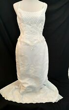 Oleg Cassini Vintage Wedding Dress Blushed With Pearls and Sequins White Size 12