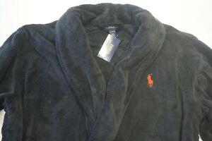POLO RALPH LAUREN PLUSH ROBE - BATHROBE DRESSING GOWN BLACK - SIZE L/XL