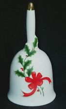 Vintage Japan Christmas Bell Decorated With Holly & Red Ribbon