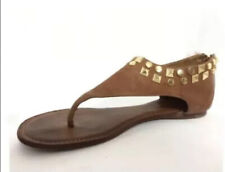 Tory Burch Studded Leather Sandal Royal Tan Size 7.5 Gladiator Zip Thong Flats