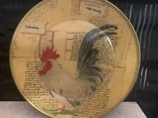 "Rooster Country Kitchen Farm Plate Decor Chicken Rustic 9"" Round"
