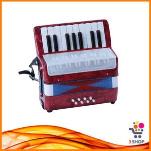 Mini Fisarmonica Organetto per Bambini Tastiera Musicale 17 Tasti 8 Bassi Rossa