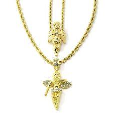 "Men 14k Gold Plated High Fashion Angel Prayer & Cz 2pcs Bundle 30""24"" Rope chain"