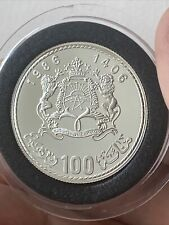 More details for 1985 silver proof morocco 100 dirham coin box + coa pope john paul papal visit