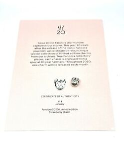 NEW Pandora 20th Anniversary Limited Edition Strawberry Charm WITH CERTIFICATE