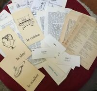 36 Piece Vintage FRENCH EPHEMERA Lot of Book Pages FLASH CARDS