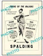 OLD 6x4 HISTORIC ADVERTISING POSTER, SPALDING BASEBALLS 1947 WORLD SERIES