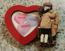 Valentine's Heart Shaped Pin with Picture Frame ~ Kissing Kids