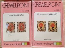 Lot of 2 Crewel Embroidery Earring Kits Turtle CE5 & Mushroom CE3 SOO-Z