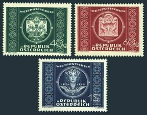 Austria 565-567, MH. UPU-75, 1949. Letter, Roses, Post horn, Wings.
