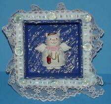 "Wood Shadow Box w Kitty Cat Angel Figure w Beads Lace Art by Sam 4.5""x4.5"""