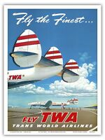 CHICAGO VIA TWA c.1950 Vintage Airline Travel Large-Sized Poster Reprint